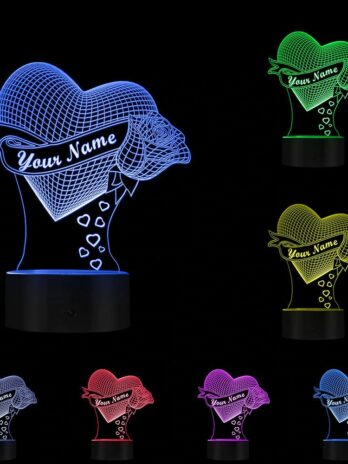 3d night light love rose personalized name illusion table lamp